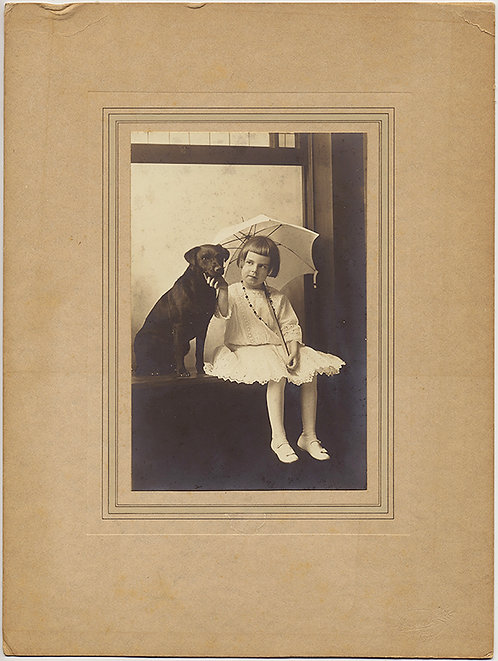 CUTE LITTLE GIRL with PET DOG & PARASOL POSES in WINDOW!