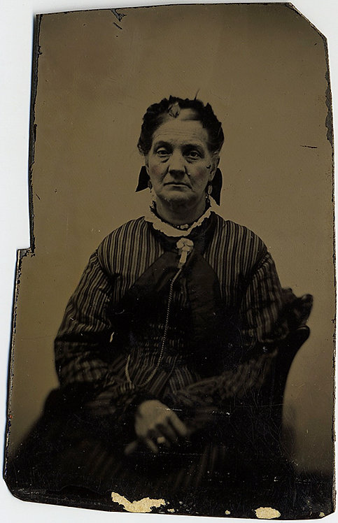 DIGNIFIED OLDER WOMAN in tintype WITH GOOD tonality!