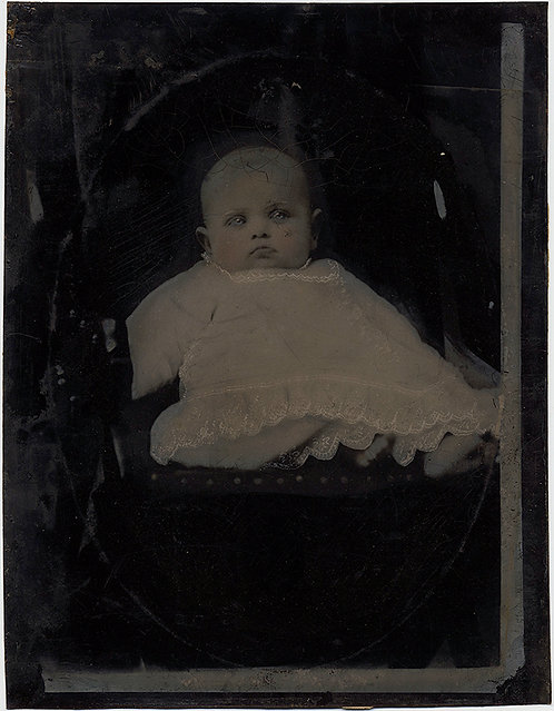 BABY'S FIRST PORTRAIT FULL PLATE TINTYPE HAND PAINTED MONOCHROMAL