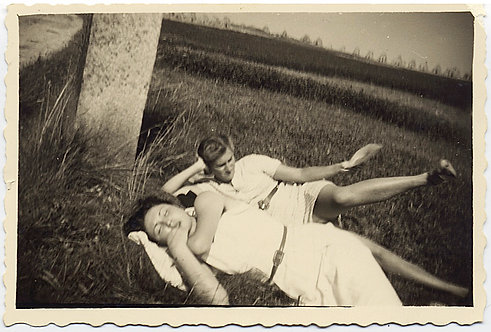 WOMAN ASLEEP on GRASS WOMAN CAUGHT MID-COLLAPSE LEFS ASKEW  UNUSUAL WEIRD
