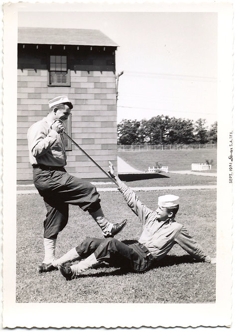 NAVY BOYS SAILORS PLAY ACT VIOLENT DUEL w DRESS SWORDS on GRASS near BARRACKS
