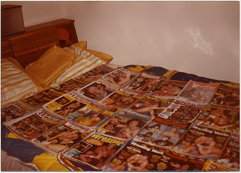 PROUD WRESTLING MAGAZINE OWNER MAKES BEDSPREAD of COVERS BED w WRESTLING MAGS