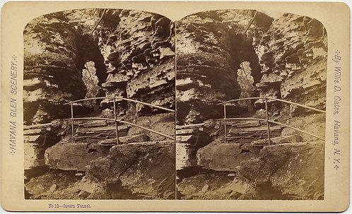 HAVANA GLEN NY #12 Cavern Tunnel STEREOVIEW WILLIS D GATES ROCK ARCH PATH TUNNEL