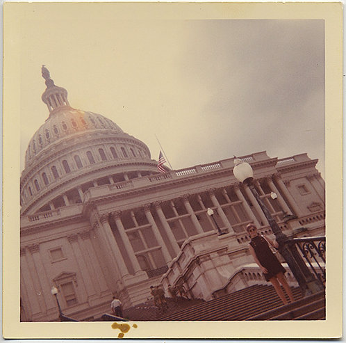 WOMAN POSES on US CAPITOL STEPS OFF KILTER FRAMING almost DUTCH ANGLE
