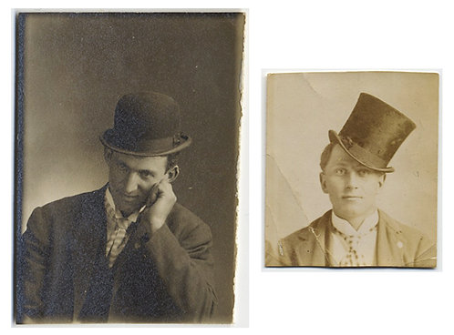 TWO PHOTOBOOTH size PORTRAITS OF HANDSOME MEN in HATS and ATTITUDES