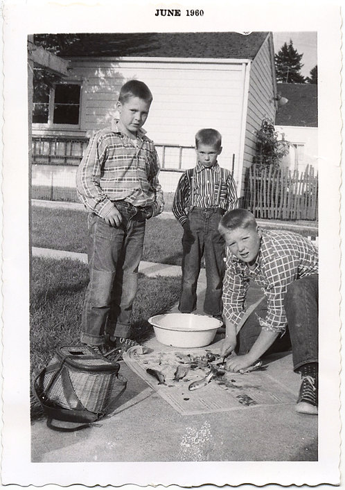 TOUGH YOUNG BOYS CATCH FISH GUT THEM on the LAWN BALEFUL LOOKS at PHOTOGRAPHER