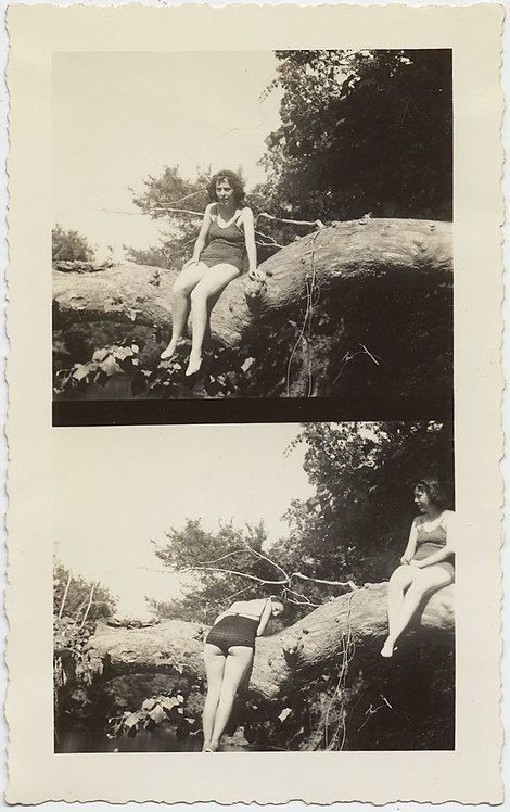 DOUBLE TROUBLE SEXY WOMAN in SWIMSUIT LEANS over BIG LOG BUM to CAMERA