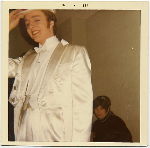 TOP HAT WHITE TIE TAILS SATIN CLAD PROM GUY in CHORUS LINE SULLEN WOMAN in BACK