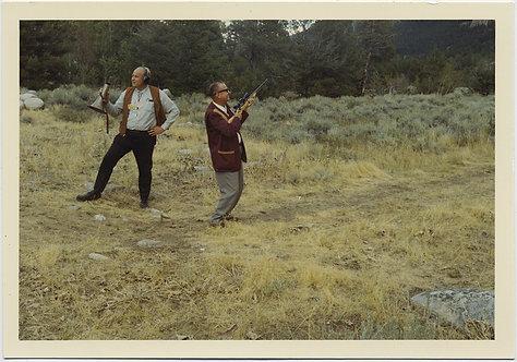 STRANGE OLDER MEN w MEGAPHONE & RIFLE LOOK AROUND INEPTLY on SHOOTING RANGE?