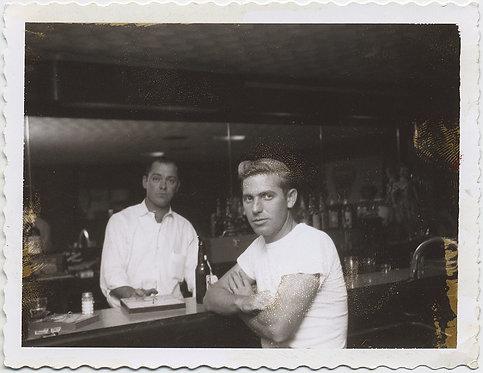 SOULFUL HANDSOME MAN SITS at BAR DRINKING SORROWS AWAY w HUNKY BARMAN POLAROID