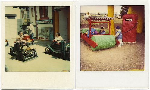 2 POLAROIDS KIDS PLAY on TOY VINTAGE CARS and DINO PLAYGROUND