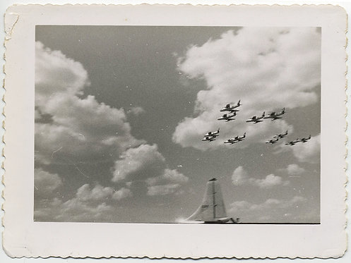 F-86 SABRE JET MILITARY PLANES FLY OVER in FORMATION at AIR SHOW CLOUDY SKY