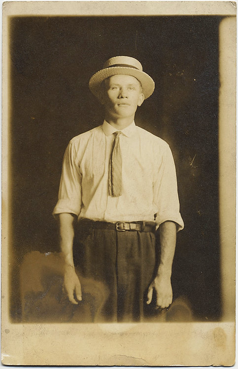 SUPERB RPPC PORTRAIT of MAN in STRAW BOATER CHEESECUTTER HAT
