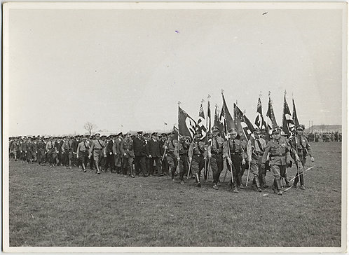 NAZIS on PARADE PHALANX of SWASTIKA FLAG BEARING FASCISTS MARCH WW2