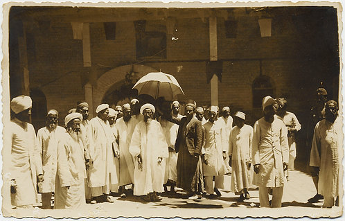 MUSLIM HOLY MAN? UMBRELLA PROCESSESION Iraq? India? IDd photograher Karbla Iraq
