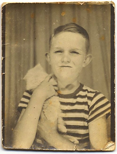 PHOTOBOOTH SWEET BOY in STRIPED T SHIRT HOLDS MUCH LOVED KITTY CAT KITTEN