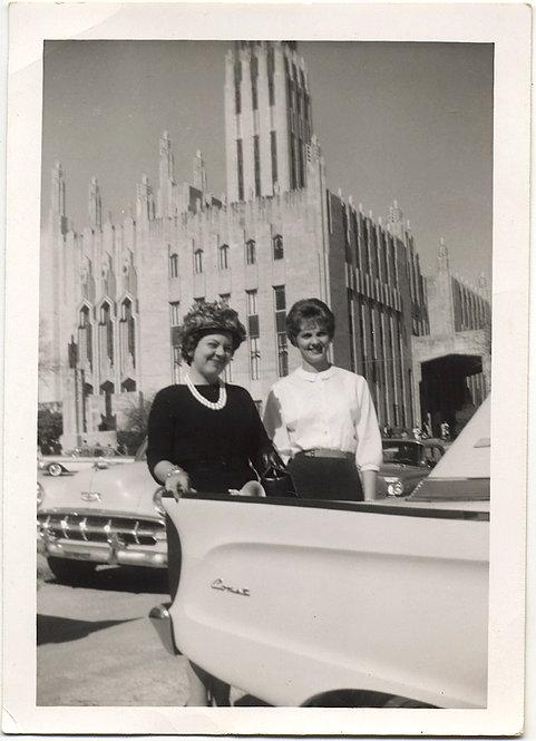 WOMEN GATHER at BOSTON AVENUE UNITED METHODIST CHURCH TULSA w MERCURY COMET CAR