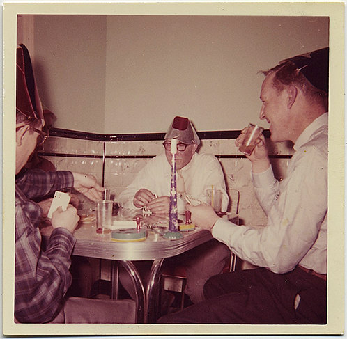 MEN in STRANGE HATS and YARMULKE PLAY CARDS at KITCHEN TABLE