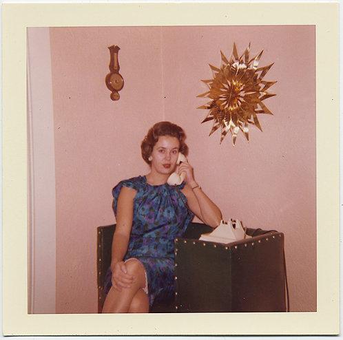 PINK WALL WHITE PHONE GOLD STARBURST MID CENTURY CLOCK WALL BAROMETER FABULOUS!