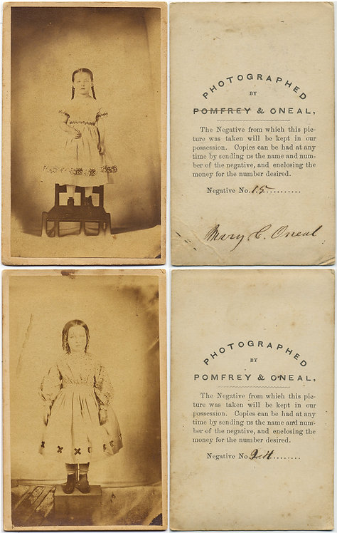 WONDROUS EARLY CDVs TWO YOUNG GIRLS BY PARENT? PHOTOGRAPHER UNUSUAL (see descr)