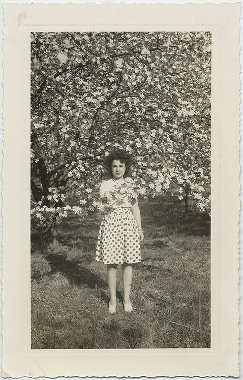 GORGEOUS WOMAN in POLKA DOT DRESS among FLOWER/CHERRY BLOSSOMS!