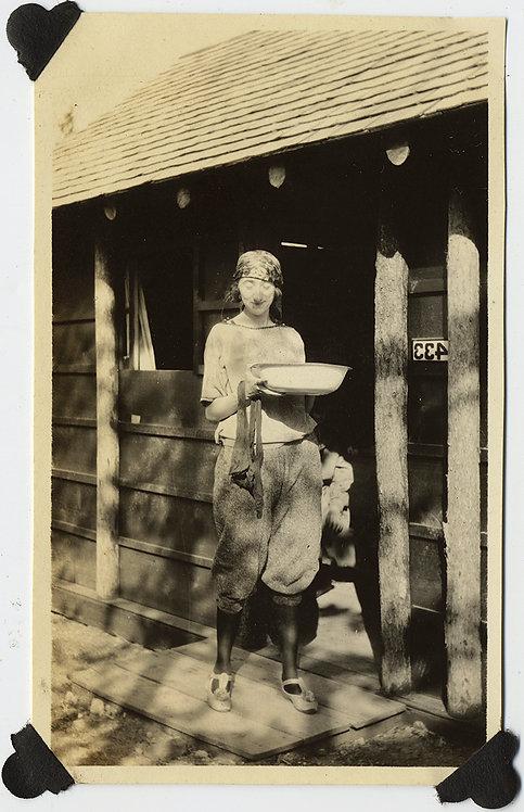PRETTY CAMPER WOMAN w ENAMEL WASH BOWL & FRESHLY WASHED STOCKINGS LOOKS BASHFUL