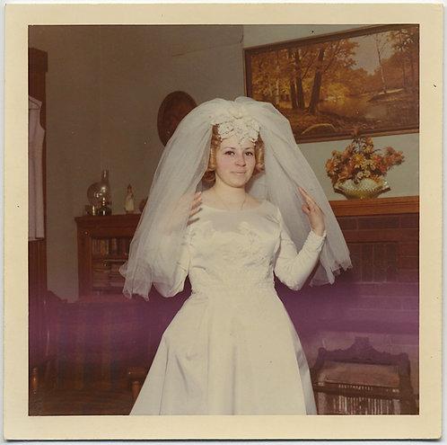 FUNKY PRETTY BRIDE in DRESS & VEIL in 70s INTERIOR ODD PURPLE HAZE