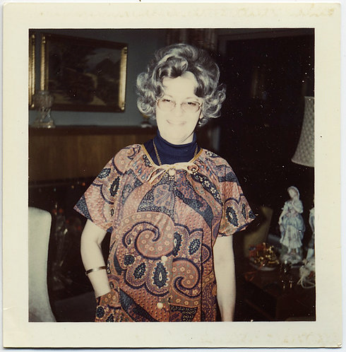 SILVER HAIRED ANN WEARS STARTLING 70s PAISLEY MUMU BLINDED by the FLASH POLAROID