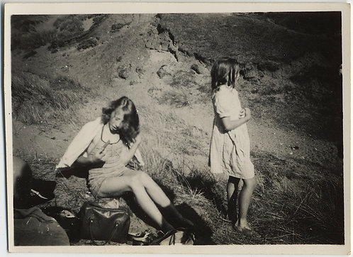 YOUNG WOMEN GIRLS on MOUNTAINSIDE PICNIC UNPACK and STARE at the LANDSCAPE VIEW