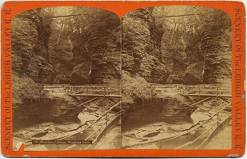 WATKINS GLEN MATCHLESS SCENE STEREOVIEW G F GATES WOOD BRIDGE Lehigh Valley RR