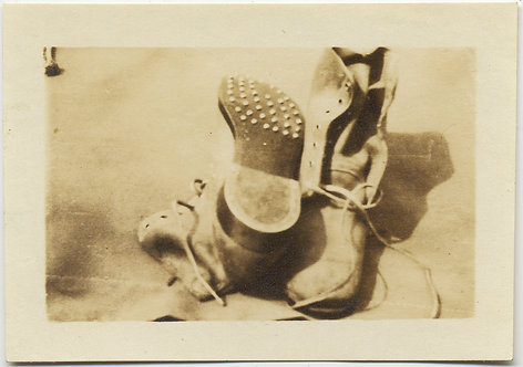 STILL LIFE w OLD BOOTS STUNNING SMALL PIC HEAVILY WORN BOOTS WAITING for GODOT