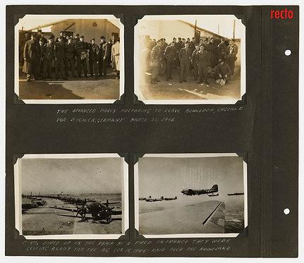 EXTRAORDINARY MUSEUM QUALITY ALBUM PAGE WWII CAMP KILMER NJ AIR RAID on FRANCE