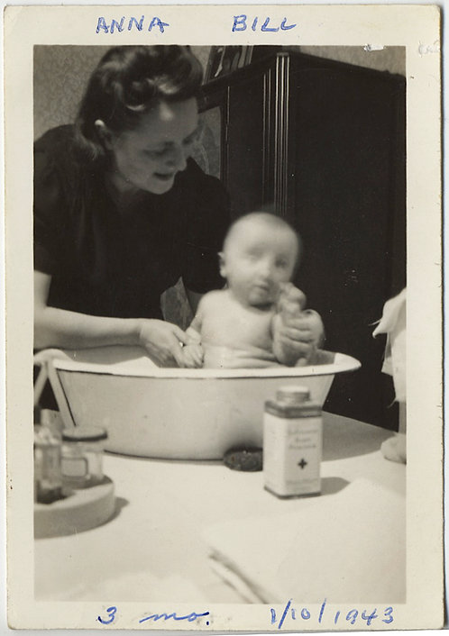 ADORABLE BLURRY MOVING INFANT gets BATHED in METAL BASIN w JOHNSON'S BABY POWDER