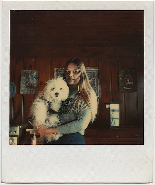POLAROID! PRETTY LONG HAIRED GIRL with ADORABLE SHAGGY WHITE DOG