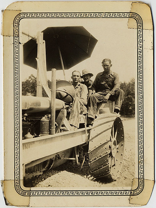 THREE EARLY FARM WORKERS in VINTAGE TRACTOR and UMBRELLA!