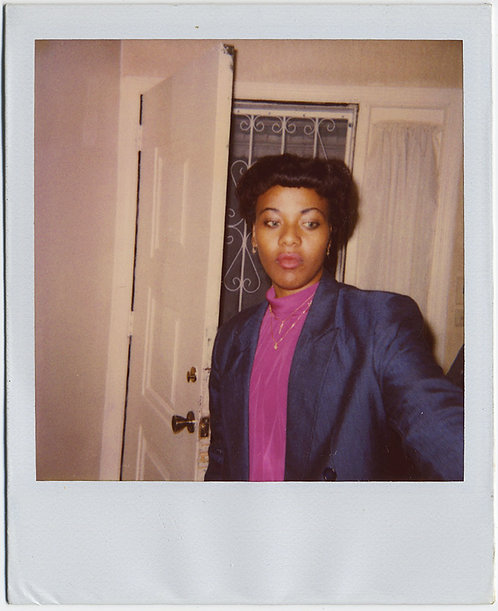 PENSIVE AFRICAN AMERICAN BLACK WOMAN in AWESOME COLOR FUSCIA POLO NECK POLAROID