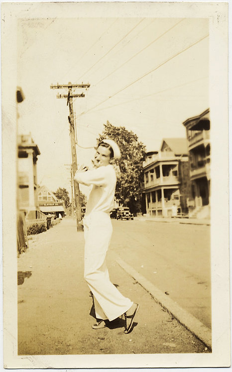 FEY CAMP SAILOR on SHORE LEAVE POSES COYLY on STREET GAY INT