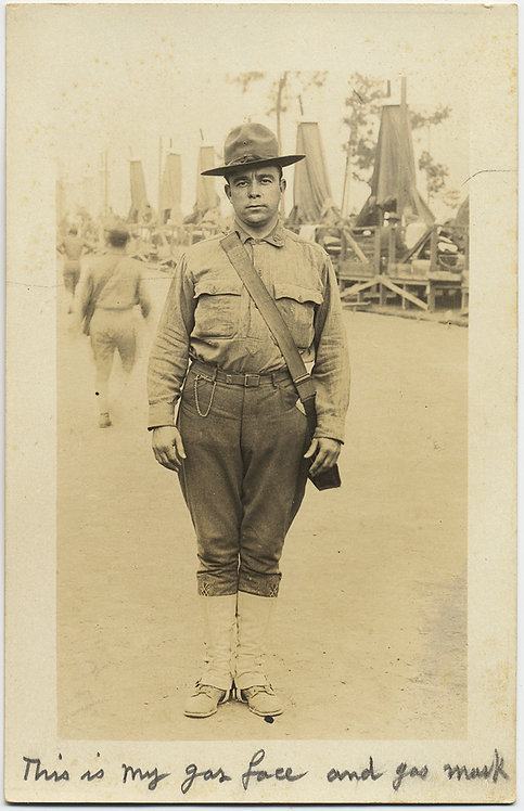 FANTASTIC CAPTION Gas Mask Face SERIOUS DOUGHBOY SOLDIER RPPC