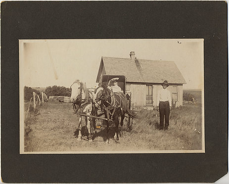 FASCINATING RURAL WOMAN in BEST DRESS & HAT on HORSE DRAWN BUGGY & SOLITARY MAN