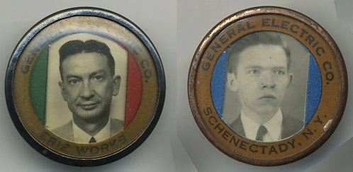 2 EMPLOYEE ID BADGES! General Electric ERIE, PA & SCHENECTADY NY PLANTS
