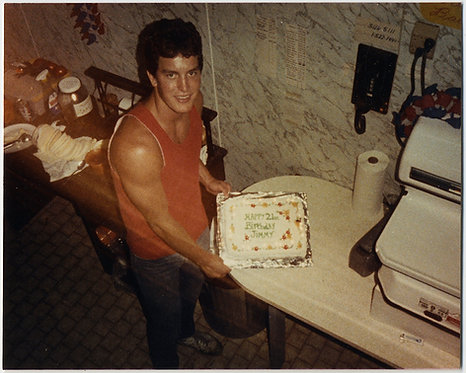 HUNKY 21 year old JIMMY SHOWS OFF MUSCLES in TANK TOP WIFEBEATER & BIRTHDAY CAKE