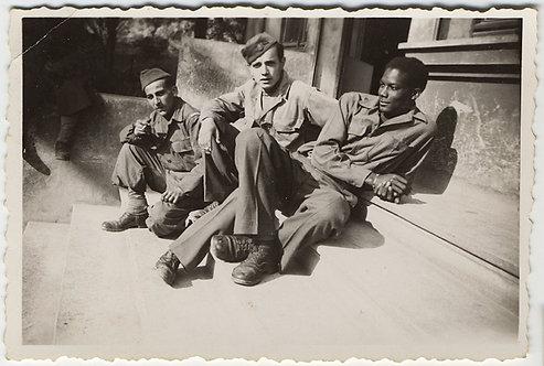 HANDSOME WHITE SERVICEMEN HANG with DASHING BLACK SOLDIER BUDDY