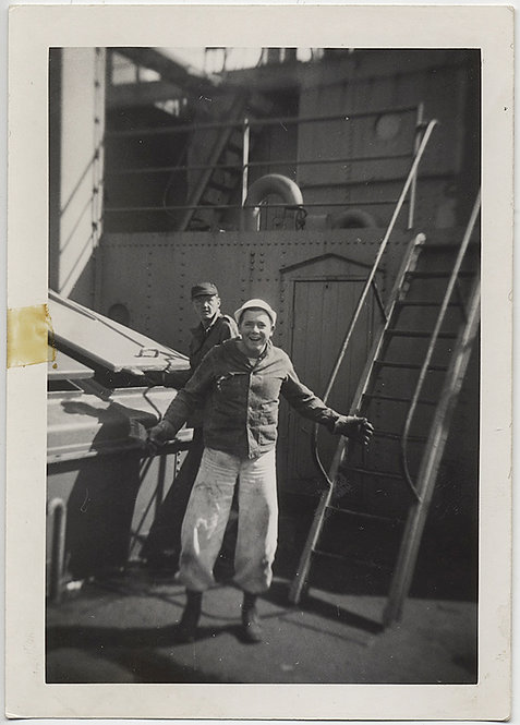 CRAZY CUTE SAILOR SMILES MISCHIEVOUSLY on BOARD SHIP in GREAT PANTS! GAY int