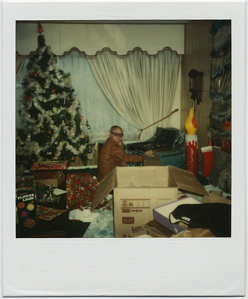 POLAROID! MAN in CHAOTIC POST-PRESENT-OPENING XMAS SCENE the