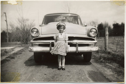 FABULOUS LITTLE GIRL in FINERY in FRONT of VINTAGE CAR! SYLVIA in SUNDAY BEST