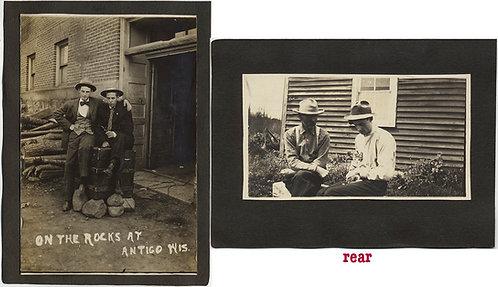 2 SUPER PICS AFFECTIONATE MEN w CAPTION Antigo WIS + CUTE YOUNG MAN w CAT in LAP
