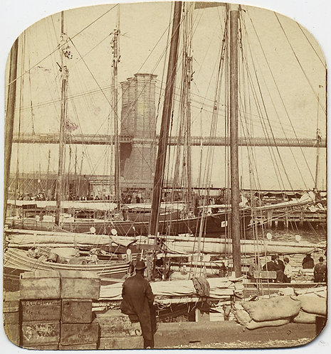 ALBUMEN UMOUNTED STEREOVIEW BROOKLYN? BRIDGE BOATS in HARBOR