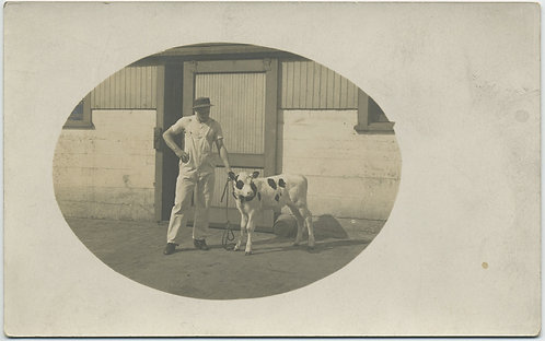 GORGEOUS RPPC! Man and CALF in oval