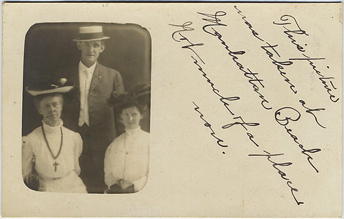 RPPC EDWARDIAN GROUP in HATS v. DISAPPOINTED w MANHATTAN BEACH CAPTION!