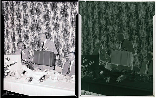 NEGATIVE! MAN RECEIVES LUGGAGE as RETIREMENT GIFT? PARSONIAN BANQUET & CURTAIN